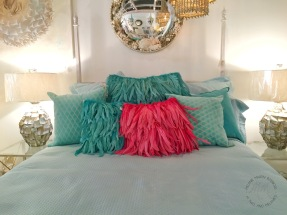 Hand Dyed Feather Pillows in Fuchsia and Turquoise huh